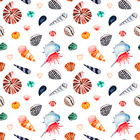 Underwater creatures.Watercolor seamless pattern with multicolored seashells.Perfect for wallpaper, print, packaging, invitations, packaging, cover design, travel.