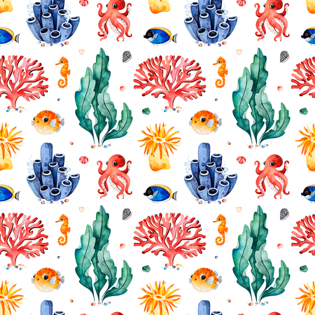 Underwater creatures.Watercolor seamless pattern with multicolored corals, seashells, seaweeds and fish, seahorse and more.Perfect for wallpaper, print, packaging, invitations, packaging, cover design, travel
