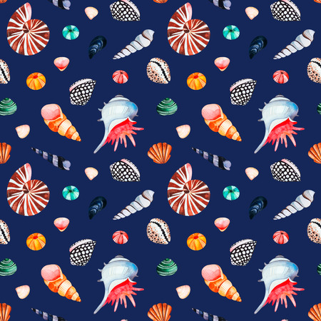 Underwater creatures.Watercolor seamless pattern with multicolored seashells.Dark background.Perfect for wallpaper, print, packaging, invitations, packaging, cover design, travel.