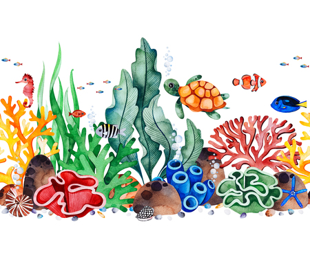 Underwater creatures seamless repeat border with multicolored corals, seashells, seaweeds, fish, turtle, seahorse.Perfect for invitations, party decorations, printable, craft project, greeting cards, texture.