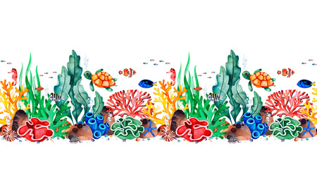 Underwater creatures seamless repeat border with multicolored corals, seashells, seaweeds, fish, turtle, seahorse.Perfect for invitations, party decorations, printable, craft project, greeting cards, texture. Imagens - 118653108