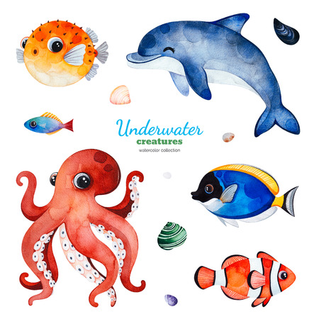 Underwater creatures. Watercolor collection with multicolored coral fishes.shells, dolphin, octopus and more Perfect for invitations, party decorations, printable, craft project, greeting cards, blogs Banco de Imagens