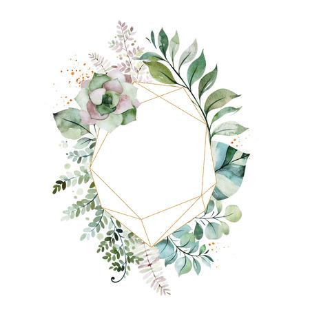 水彩画 グリーンイラスト。葉、ヤシの葉、枝、多肉植物との事前に作られたグリーティングカード。結婚式、引用符、誕生日や招待状、印刷、ブロ