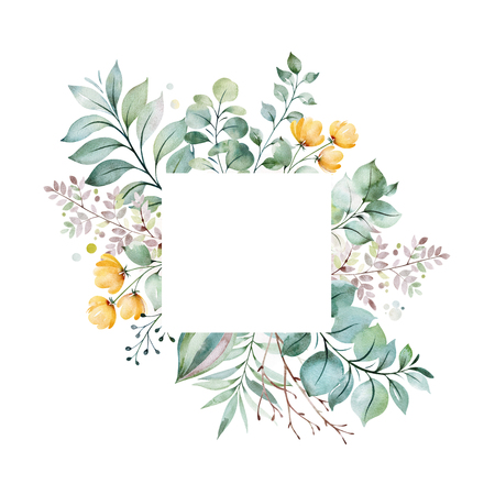Watercolor Green illustration.Pre-made Greeting card with foliage, palm leaves, branches, yellow flowers and more.Perfect for wedding, quotes, Birthday and invitation cards, print, blogs, bridal cards, logos. Stock Photo