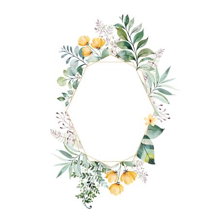 Aquarellgrüne Illustration. Vorgefertigte Grußkarte mit Laub, Palmblättern, Zweigen, Blumen und mehr. Perfekt für Hochzeit, Zitate, Geburtstags- und Einladungskarten, Druck, Blogs, Brautkarten, Logos.