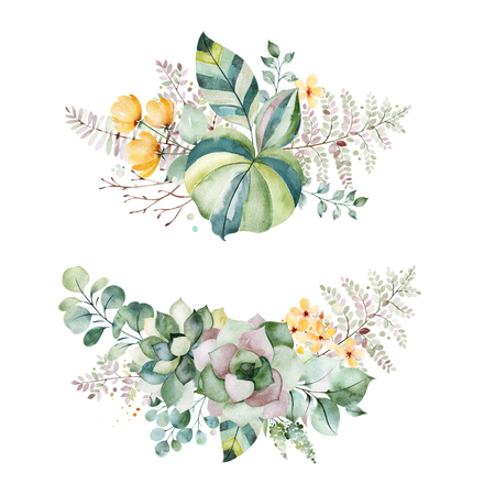 Watercolor Green illustration.2 Beautiful bouquets with succulents, palm leaves, branches, yellow flowers and more.Perfect for wedding, quotes, Birthday and invitation cards, print, blogs, bridal cards, logos. Reklamní fotografie