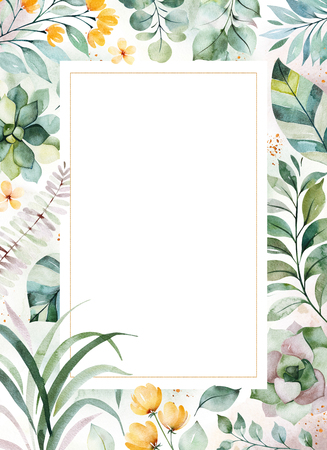 Watercolor Green illustration.Pre-made Greeting card with succulent plants, palm leaves, flowers, branches and more.Perfect for wedding, quotes, Birthday and invitation cards, print, blogs, bridal car 写真素材