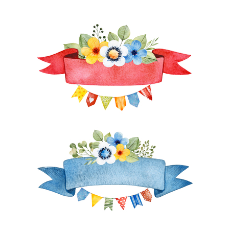 Colorful floral collection with multicolored flowers, leaves, branches, berries, ribbon banner.2 beautiful bouquets.Perfect for wedding, invitations, greeting, quotes, patterns, wallpapers, logos, Birthday cards