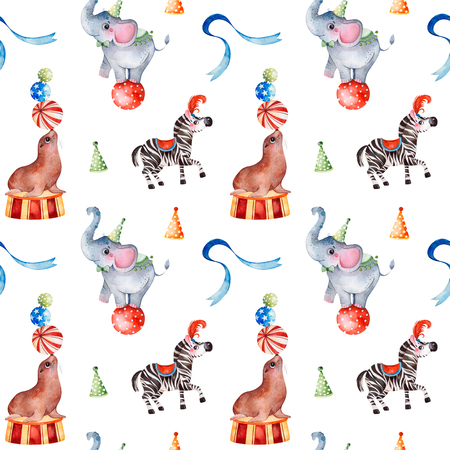 Lovely Circus pattern.Seamless Texture with cute little elephant on the ball, zebra, fur seal, ribbon.Perfect for wedding, invitations, wallpaper, print, design packaging, Birthday cards and baby shower Foto de archivo