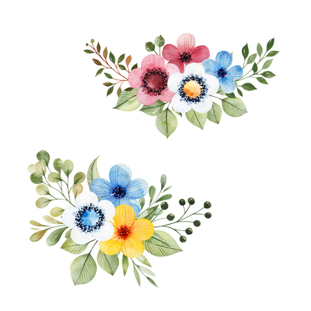 Colorful floral collection with multicolored flowers, leaves, branches, berries and more.2 beautiful bouquets. Perfect for wedding, invitations, greeting, quotes, patterns, wallpapers, logos, Birthday cards.