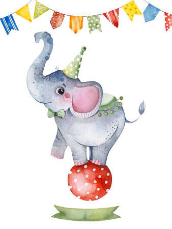 Lovely circus set.Illustration with cute little elephant on the ball, ribbon and multicolored garlands .Perfect for wedding, invitations, blogs, template card, greeting, birthday cards and baby shower.