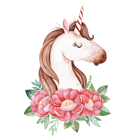Cute Unicorn with pink peonies and leaves.Watercolor bouquets for your design.Perfect for wedding, invitations, blogs, template card, Birthday, baby shower, greeting, logos, wallpaper and more