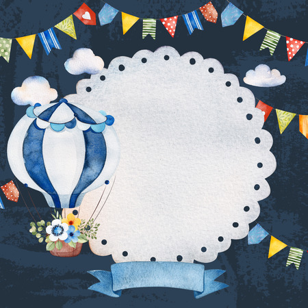 Lovely circus invitation with air balloon, banner ribbon, fluffy clouds, garlands and more.Dark background.Perfect for wedding, invitations, blogs, template card, greeting, birthday cards and baby shower. 版權商用圖片
