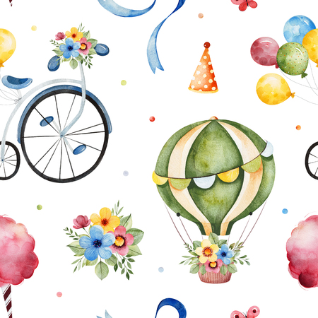 Lovely circus pattern.Seamless Texture with cute air balloon, bouquets, vintage bicycle, ribbons and more.Perfect for wedding, invitations, wallpaper, print, design packaging, Birthday cards and baby shower.