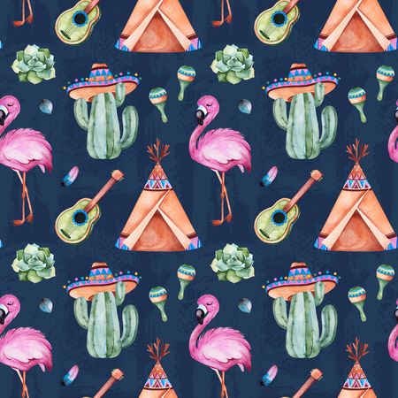 Seamless pattern with mexican ethnic elements: cactus, sombrero, maracas, teepee, guitar, flamingo, feather and more. Abstract texture. Perfect for your project, wallpaper, print, packaging and cover