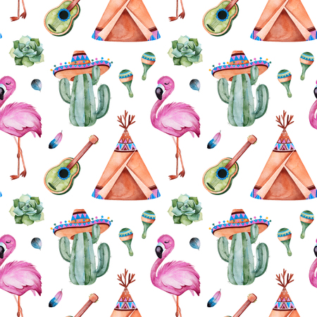 Seamless pattern with mexican ethnic elements: cactus, sombrero, maracas, teepee, guitar, flamingo, feathers and more.White background.Perfect for your project, wallpaper, print, packaging and cover d