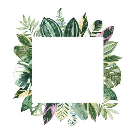 Watercolor Tropical Forest set.Greeting card with multicolored leaves, branches, palm leaf..Perfect for wedding, invitations, quotes, logos, Birthday cards, bridal shower, print and your unique creation.