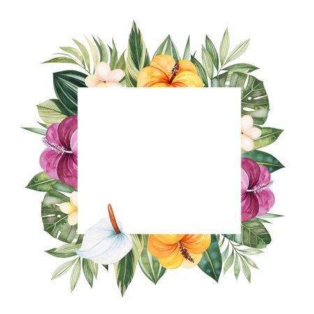 Watercolor Tropical Forest.Pre-made frame border with multicolored flowers, leaves, palm leaf.Perfect for wedding, invitations, quotes, logos, Birthday cards, bridal shower, print and your unique creation. 写真素材