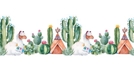 Lovely repeat border with green watercolor cactus, succulent, flowers, teepee and cute llama