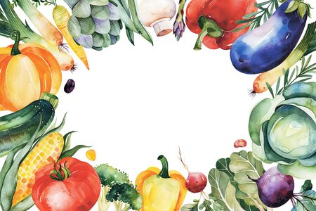 Watercolor hand painted vegetables. Frame border with cabbage, eggplant, pepper, corn, herb, mushroom, leek, pumpkin, tomato.Vegetarian collection.Pefect for your greeting cards, menu, recipe, autumn templates.