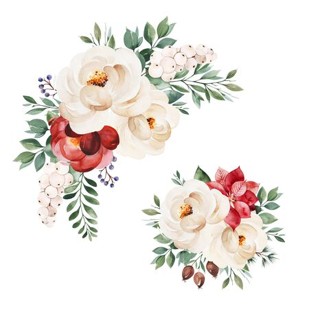 Christmas and New Year collection. 2 lovely winter bouquets with leaves, branches, flowers, berries, holly, poinsettia.Handpainted watercolor illustration.Perfect for invitations and greeting cards. Foto de archivo