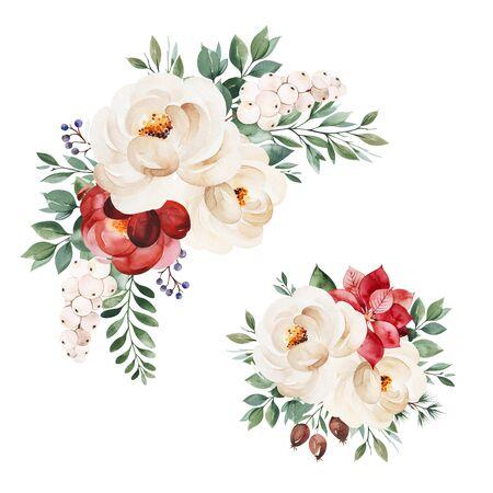 Colección Navidad y Año Nuevo. 2 hermosos ramos de invierno con hojas, ramas, flores, bayas, acebo, flor de pascua. Ilustración acuarela pintada a mano. Perfecto para invitaciones y tarjetas de felicitación.