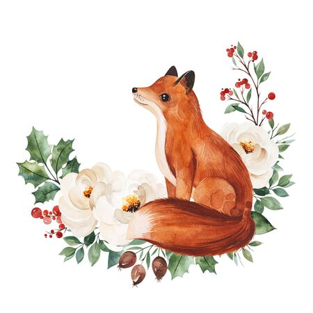 Christmas and New Year collection.Winter bouquet with leaves, branches, flowers, berries, holly and cute little fox.Handpainted watercolor illustration, Perfect for invitations and greeting cards.