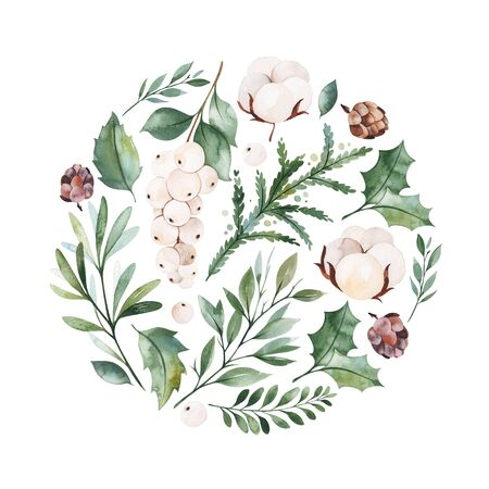 Christmas and New Year collection.Winter composition with leaves, branches, flowers, berries, pine cone.Handpainted watercolor illustration.Perfect for invitations, print, greeting cards.