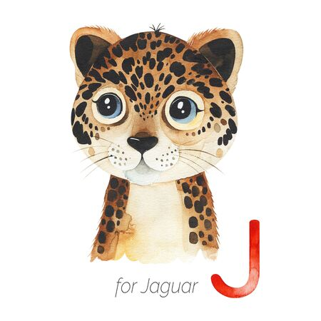 Watercolor Animals Alphabet.Learn letters with funny animals. Cute Jaguar for J letter. Perfect for education, baby shower, children prints or room decor, template cards, books and much more Stockfoto - 136111697