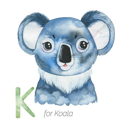 Watercolor Animals Alphabet.Learn letters with funny animals. Cute Koala bear for K letter. Perfect for education, baby shower, children prints or room decor, template cards, books and much more