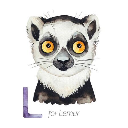 Watercolor Animals Alphabet.Learn letters with funny animals. Cute Lemur for L letter. Perfect for education, baby shower, children prints or room decor, template cards, books and much more