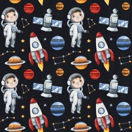 Watercolor Seamless Pattern. Cosmos texture with astronaut, planets, spacecraft, rocket, constellation, stars and more.