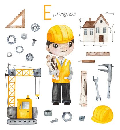 Watercolor Alphabet Profession set. Engineer for E letter. Stockfoto