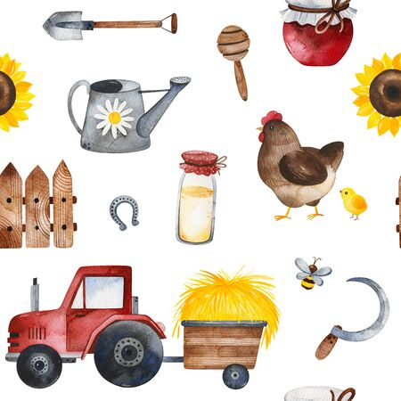 Farmer composition with food, sunflowers, chicken, fence, tractor, bee, shovel and more.