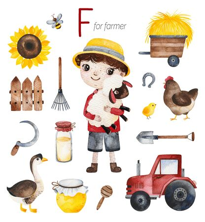 Watercolor Alphabet Profession set. Farmer for F letter.