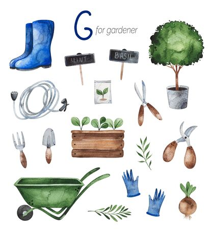 Watercolor Alphabet Profession set. Gardener for G letter.