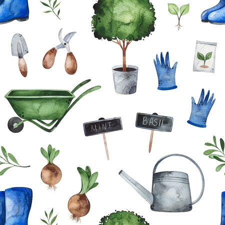 Gardener composition with gumboots, scissors, seed, tree, watering can, gloves, wheelbarrow and more.