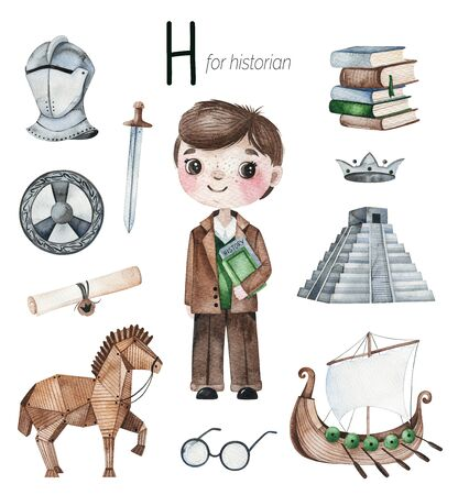 Watercolor Alphabet Profession set. Historian for H letter.
