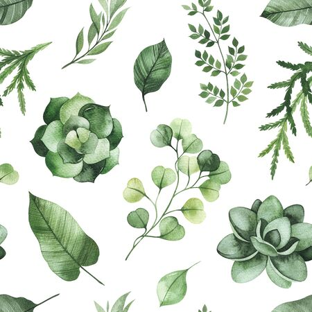 Watercolor Greenery seamless texture with fern, succulent, leaves, branches.Perfect for wallpapers, print, cover and packaging design, textile and more Stockfoto