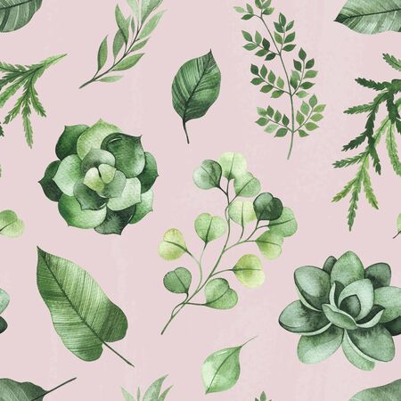 Watercolor Greenery seamless texture with fern, succulent, leaves, branches. Perfect for wallpapers, print, cover and packaging design, textile and more