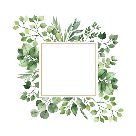 Watercolor Greenery frame invitation with leaves, fern, branches, berry.Perfect for wedding, greeting cards, quotes, logos and your unique creation.