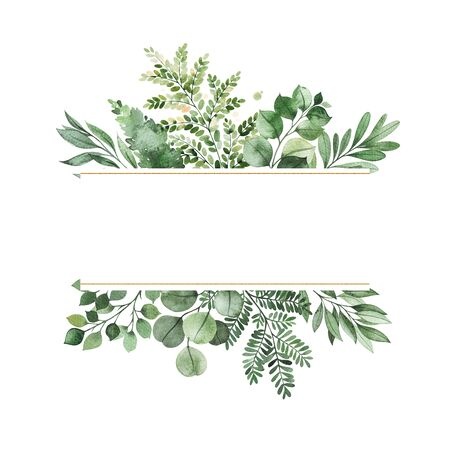 Watercolor Greenery frame invitation with leaves, fern, branches, berry.Perfect for wedding, greeting cards, quotes, logos and your unique creation. Banque d'images