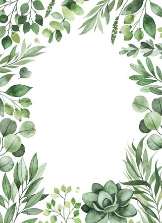 Watercolor Greenery frame invitation with leaves, fern, branches, berry.Perfect for wedding, greeting cards, quotes, Birthday and your unique creation. Stockfoto