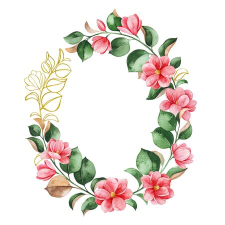 Beautiful watercolor wreath on white background. Magnolia blossom. Hand painted illustration. Perfect for wedding, bridal shower, invitation, patterns, wallpapers, logo, textile and much more