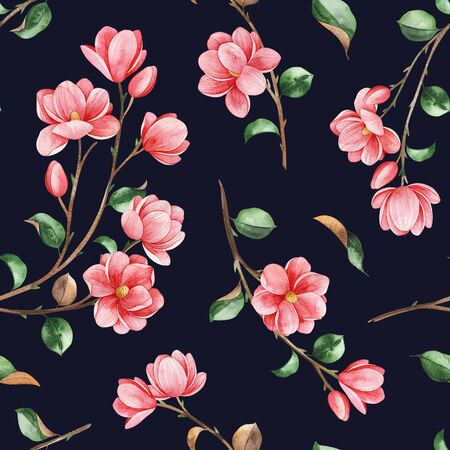 Watercolor beautiful seamless background. Magnolia flowers and leaves on dark texture. Hand painted illustration. Perfect for print, packaging, wallpapers, textile and much more
