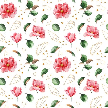 Watercolor beautiful seamless background. Magnolia flowers and leaves. Hand painted illustration. Perfect for print, packaging, wallpapers, textile and much more
