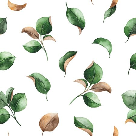 Watercolor seamless background. Green leaves texture. Hand painted illustration. Perfect for print, packaging, wallpapers, textile and much more
