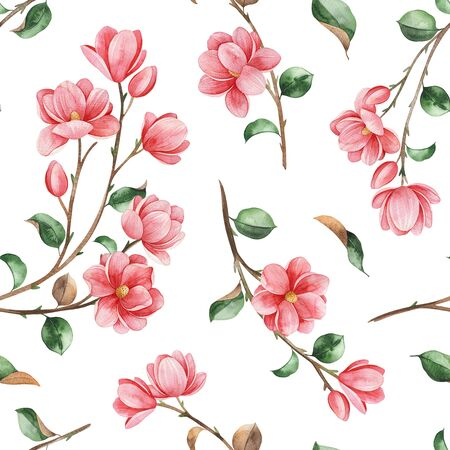 Watercolor beautiful seamless background. Magnolia flowers and leaves on white texture. Hand painted illustration. Perfect for print, packaging, wallpapers, textile and much more