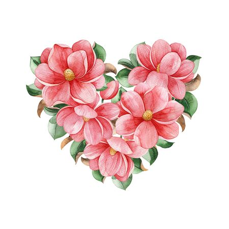 Lovely heart bouquet on white background. Magnolia blossom. Watercolor hand painted illustration. Perfect for wedding, bridal shower, invitation, patterns, wallpapers, logo, Valentine's day and much more