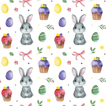 Watercolor Easter seamless patterns. Texture with colorful eggs, cute bunny, cakes, leaves, flowers and decorative elements.Perfect for wallpapers, print, textile, packaging design and more